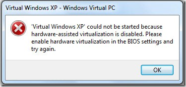 Virtual Windows XP fail to start
