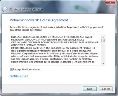 Virtual XP License Agreement